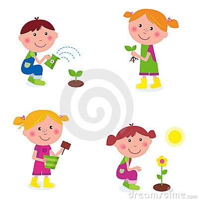 Free Gardening Children Collection Isolated On White Stock Images - 18444124