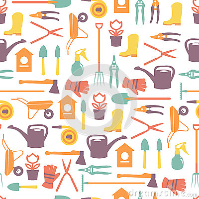 Gardening seamless pattern design with cute flat icons vector Vector Illustration