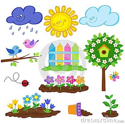 Free Gardening Spring Cute Icon Set. Vector Illustration. Royalty Free Stock Photos - 66702628