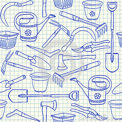 Gardening tools seamless pattern