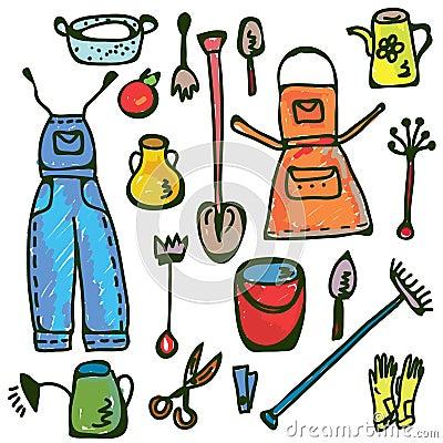Gardening tools set funny doodle