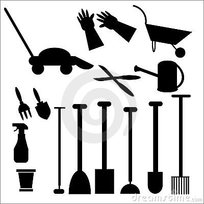 Gardening Tools in Silhouette