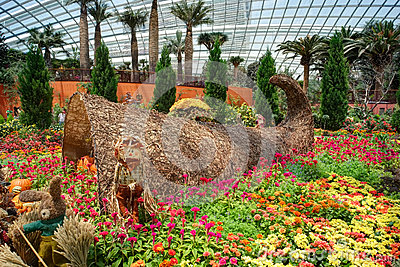 Gardens by the Bay, Flower Dome: Autumn Harvest Editorial Photography