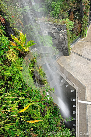 Gardens by the bay man-made waterfall
