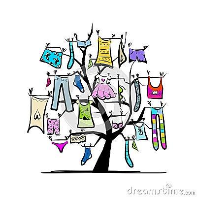 Garderobe kleren op boom voor uw ontwerp stock fotografie afbeelding 30936922 - Boom ontwerp ...