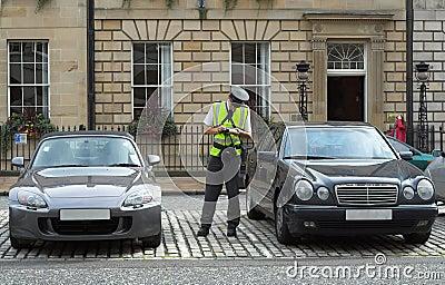 Gardien de parking, gardien de circulation, obtenant le mandat d amende de billet