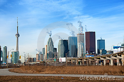 Gardiner Expressway and Skyline of Toronto Editorial Stock Photo