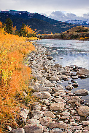 Gardiner River in fall, Montana.