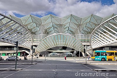 Gare do Oriente railway station in Lisbon Editorial Image