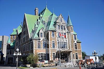 Gare du Palais, término de autobuses de la ciudad de Quebec, Canadá Fotografía editorial
