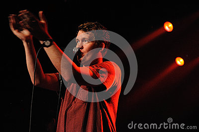 Gareth, lead singer of Los Campesinos! band, performs at Music Hall Editorial Photo