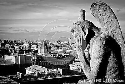 Gargoyle at Cathedrale Notre Dame de Paris noire