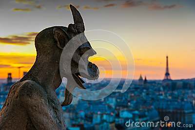 Gargoyle Staring over Paris