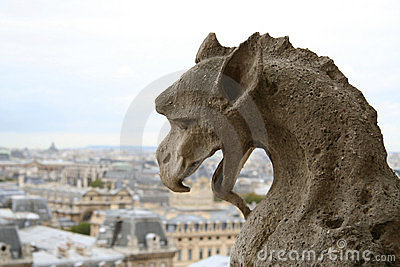 Gargoyle on the top of Notre-Dame de Paris