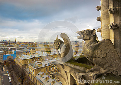 Gargoyles of Notre Dame over Paris