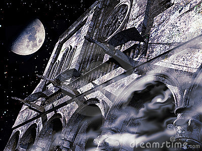 Gargoyles under the moon