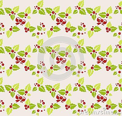 Garland of mistletoe. Seamless background