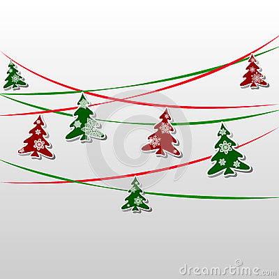 Free Garland Of Green And Red Firs Decorated With Snowflakes Royalty Free Stock Image - 81801116
