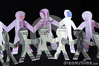 Garland of paper men, dollars and euros