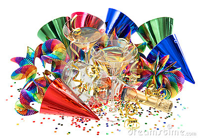 Garlands, streamer, confetti and cocktail glasses