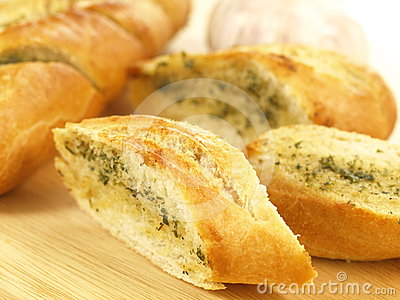 Garlic baguette, close up
