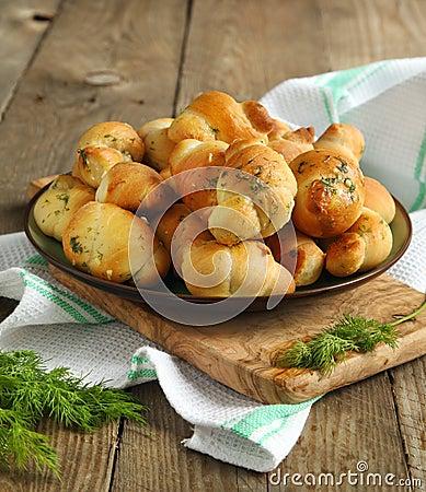 Free Garlic Bread Buns Seasoned With Dill Royalty Free Stock Photo - 29105405