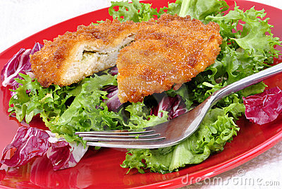 Garlic chicken kiev with seasonal salad