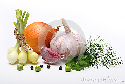 Garlic clove and onion