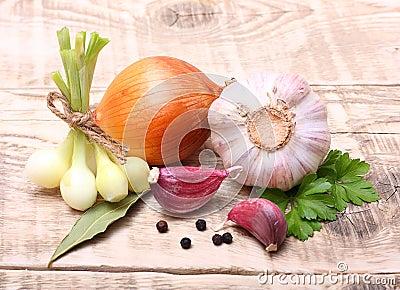 Garlic clove and onion