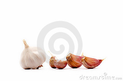 Garlic cloves and garlic bulb