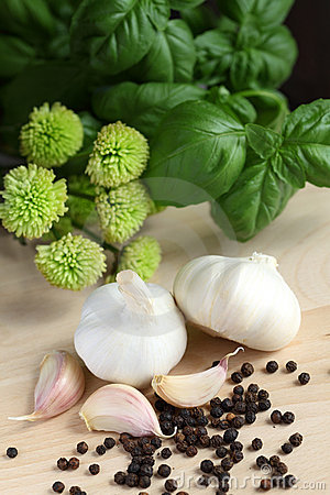 Garlic, herbs and pepper