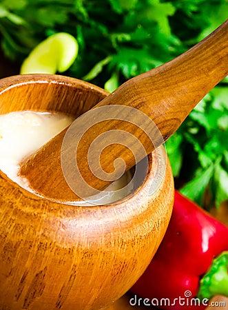 Garlic mortar with sauce