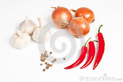 Garlic, onion, pepper and spice
