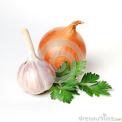 Free Garlic, Parsley And Onion Royalty Free Stock Photos - 43546518