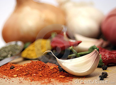 Garlic, peppers and spices