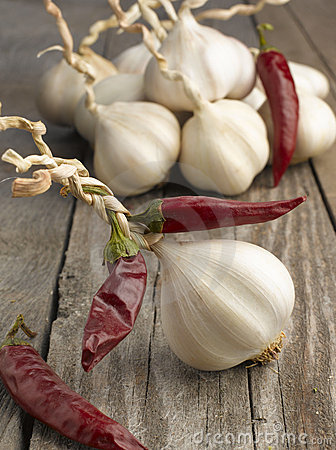 Garlic with red hot chili peppers