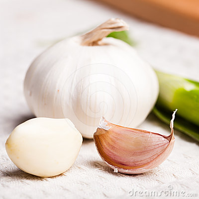 Garlic on tablecloth