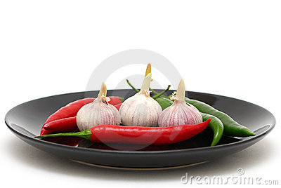 Garlics and chili peppers