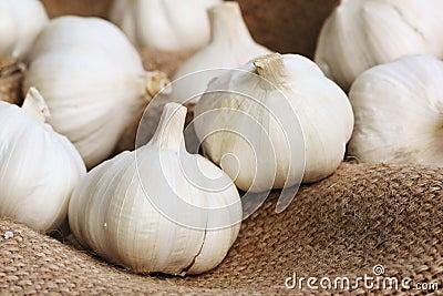 Garlics on linen