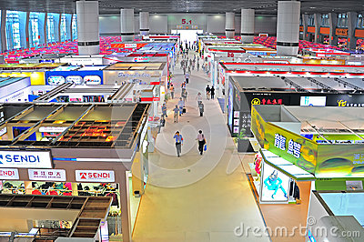 Garments pavilions at canton fair Editorial Stock Photo