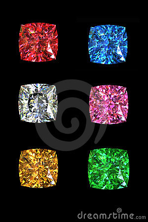 Garnet gems  isolated on black background