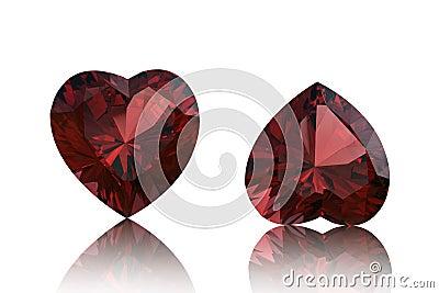 Garnet shape of heart. Valentinr s Day symbol