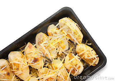 Garnish potato with cheese