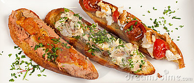 Garnished Crostini toasts