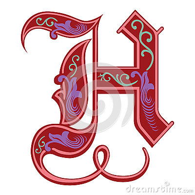 H Letter In Different Style Garnished Gothic Style...