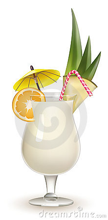 Garnished Pina Colada cocktail isolated on white