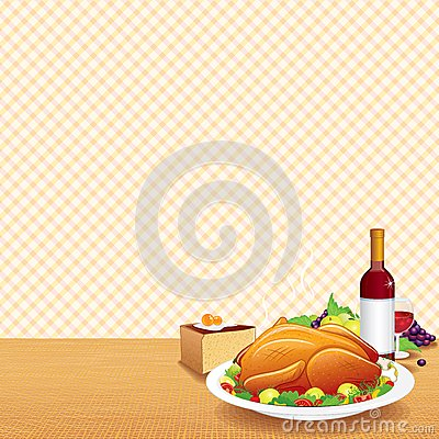 Roasted Turkey on Decorated Table