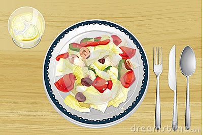 Garnished salad in dish