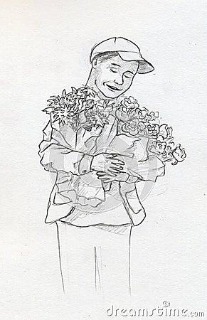 Garçon avec des fleurs - croquis