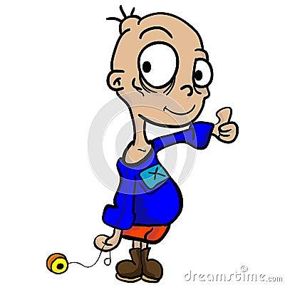Garçon avec le yo-yo et les pouces vers le haut